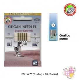 Aguja Organ Punta Bola Super Stretch Surtida